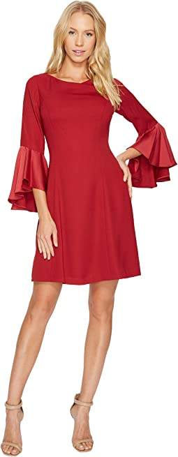 Adrianna Papell - Crepe Back Satin Ruffle Sleeve Dress