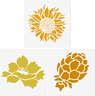 CODOHI 3 Packs Sunflower Peony Pine Cone Stencils Reusable Painting Template for Home Decor, Crafting, DIY Albums, Scrapbook & Printing on Paper, Floor, Wall, Tile, Fabric, Wood 5.1x5.1