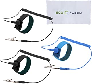 Eco-Fused Anti Static Wrist Straps - Reusable Anti-Static Wrist Straps Equipped with Grounding Wire and Alligator Clip 3 P...