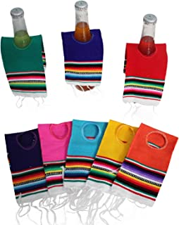 Del Mex 5 PACK Mini Mexican Serape Poncho Beer Bottle Drink Cover (Assorted)