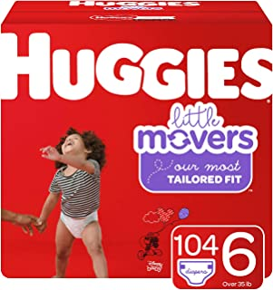 Huggies Little Movers Diapers, Size 6 (35+ lb.), 104 Ct, One Month Supply (Packaging May Vary)