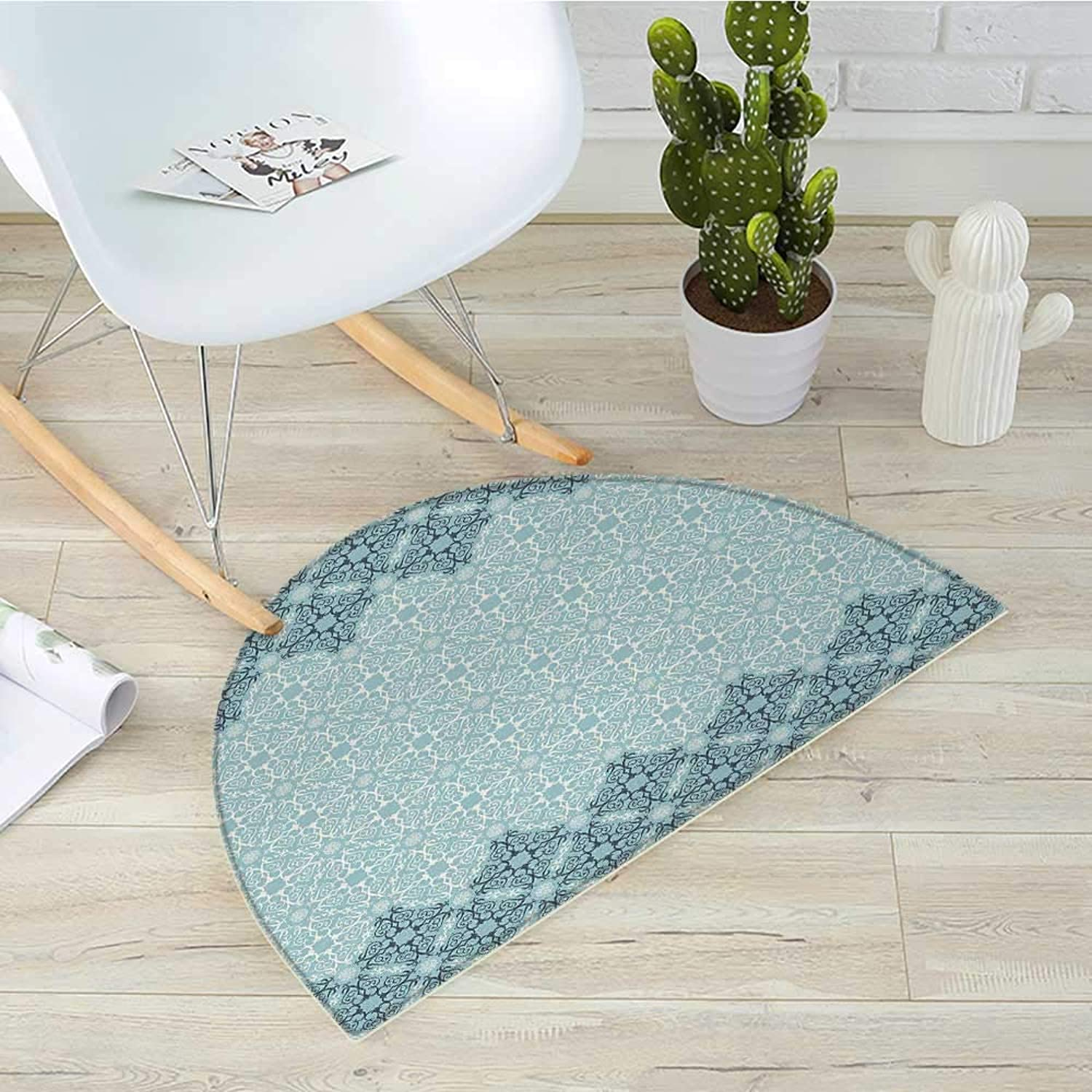 Morrocan Semicircle Doormat Modern Design with Eastern Ethnic Style Forms Ivy Frame Like in Two Halfmoon doormats H 43.3  xD 64.9  Seafoam