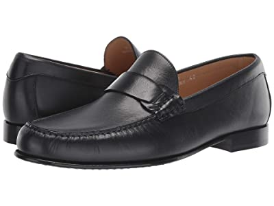 Canali Smooth Calf Skin Loafer (Navy) Men
