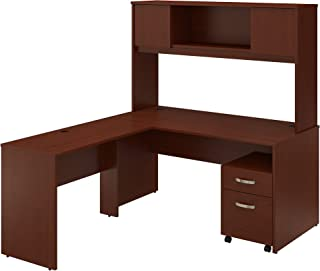 Bush Furniture Commerce 60W L Shaped Desk with Hutch and Mobile File Cabinet in Autumn Cherry