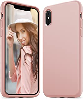 Anker iPhone X Silicone Case, KARAPAX Silicone Gel Rubber Shockproof Case Cover with Soft Microfiber Cloth Cushion [Support Wireless Charging] [Slim Fit] for iPhone X - Pink