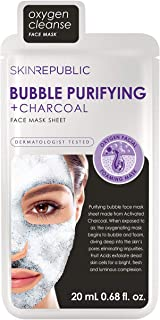 Skin Republic Korean Bubble Purifying + Charcoal Sheet Mask Pack - Includes 4 Masks Individually Packaged - Skin Care Deep Cleansing Serum Activated Charcoal Black Face Mask - 0.68 fl.oz.