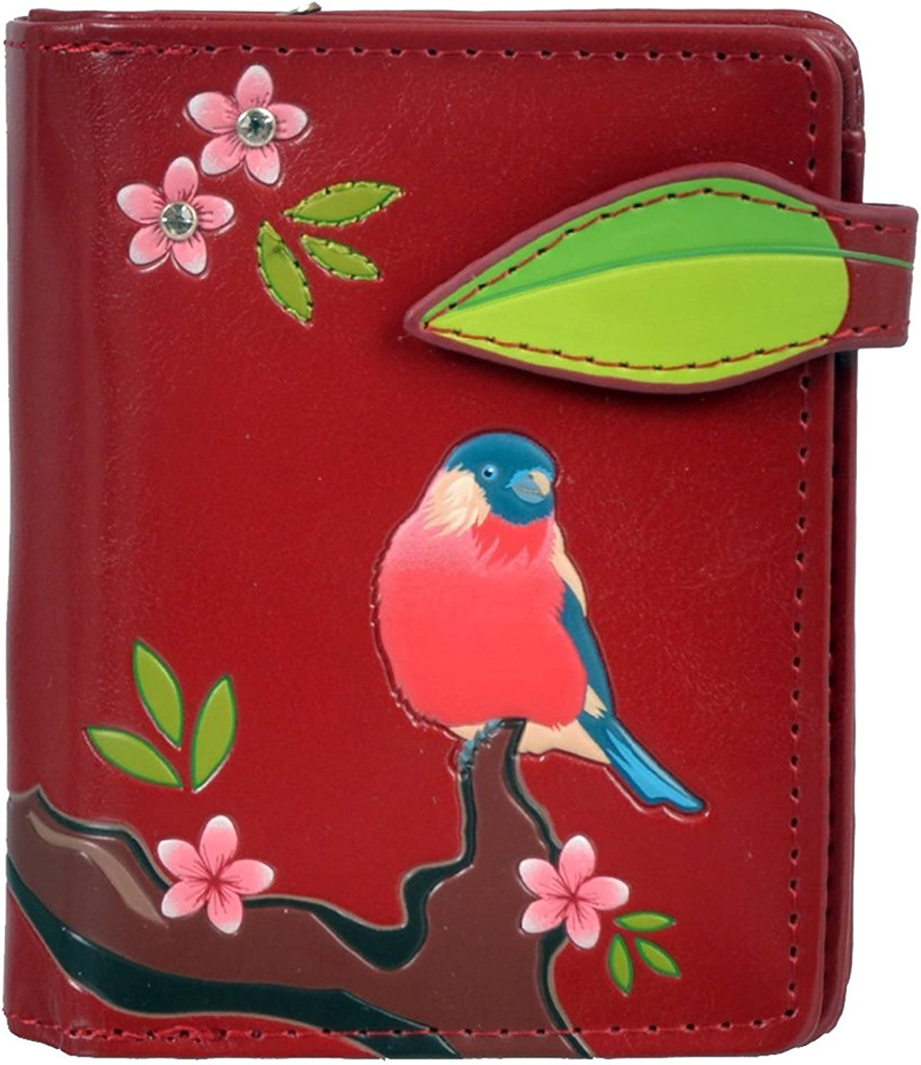 Shagwear Women's Small Zipper Wallet Red Chested Bird Red