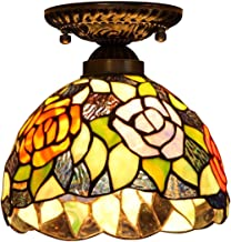 Tiffany Style Ceiling Light,Stained Glass Fiush Mount Ceiling Lamp,European Retro Ceiling Lighting Fixtures for Living Roo...