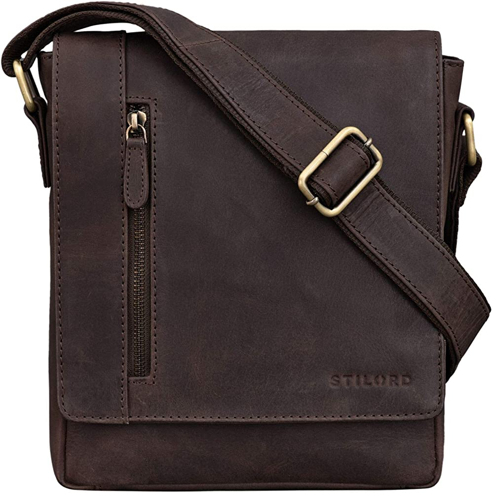Stilord `easton`, borsello a tracolla per uomo , porta tablet  , multitasche , in vera pelle