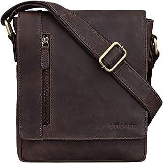 """STILORD Easton"""" Kleine Messenger Bag Echt Leder Vintage Umhängetasche im Hochformat 10,1 Zoll Tablet Tasche für iPad DIN A5 Schultertasche Echtleder, Farbe:Muskat - braun"""