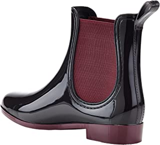 Henry Ferrera Women's Clarity-4 Contrast Ankle Rain Boot, Black/Burgundy (6)