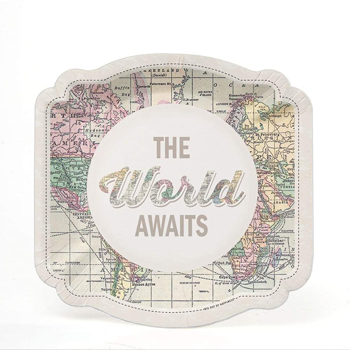 World Awaits - Travel Themed Party Dessert Plates - 16 Count