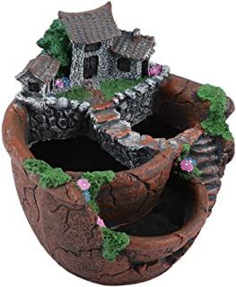 RANRANJJ Garden Planter Succulents Plants Flower Pot Miniature Resin Tree Stump Container with Sweet House for Decoration Large DIY Gift (Color : A)