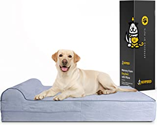 7-inch Thick High Grade Orthopedic Memory Foam Dog Bed with Pillow and Easy to Wash Removable Cover with Anti-Slip Bottom....