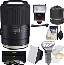 Tamron SP 90mm f/2.8 Di VC USD Macro 1:1 Lens with 3 Filters + Pouch + Flash + Soft Box + Diffuser Kit for Canon EOS Cameras