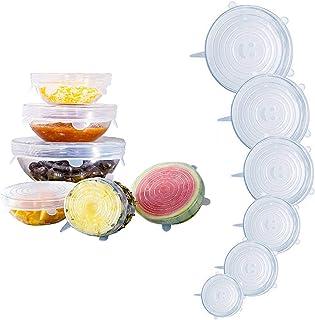 6 ازواج من اغطية تخزين الطعام، اغطية مطاطية من السيليكون، معيار ال اف جي بي قابلة للتمدد لتناسب اشكال مختلفة من الحاويات و...