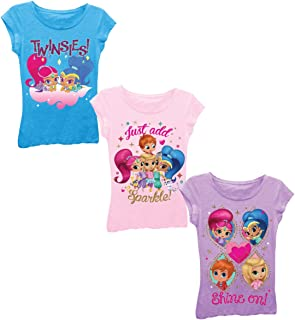 Nickelodeon Girls' Little Girls' Shimmer and Shine 3 Pack T-Shirt Bundle, Light Pink/Turquoise/Lilac, S-4