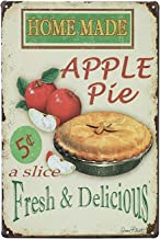 UNIQUELOVER Kitchen Sign Wall Decor, Garage Signs For Men Vintage Tin Sign And Posters Home Made Apple Pie Rustic Coffee Shop Metal Tin Sign Wall Art Food Tin Sign Wall Decor 12 x 8 Inches / 30 x 20cm