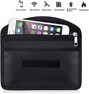 ENGPOW Fireproof Faraday Bag with Zipper Anti-Tracking GPS RFID Car Key Signal Blocker Wallet Shielding Pouch Protective Case for Cell Phone Privacy and Car Key FOB