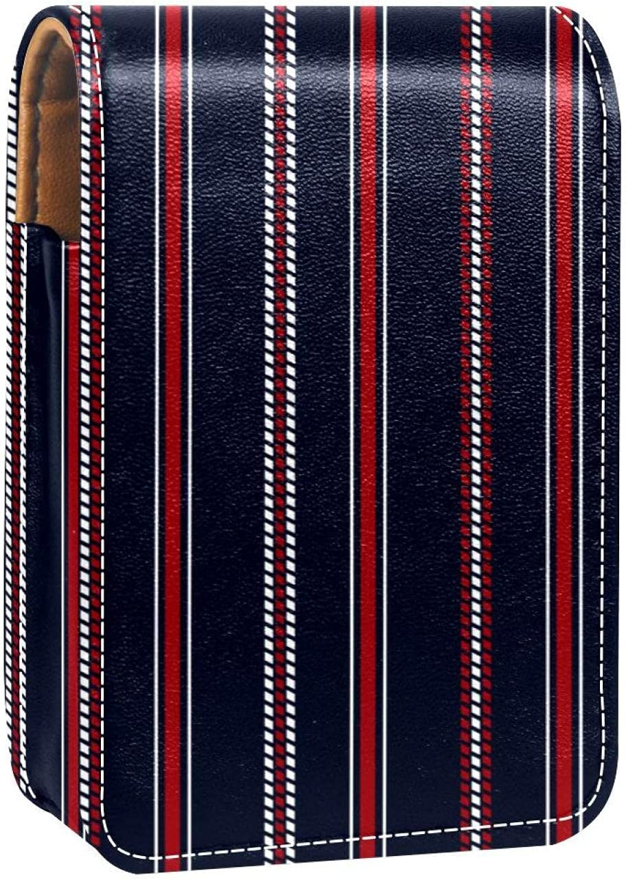 Makeup Lipstick Case For excellence Outside Stripe L Portable Red Navy Blue New popularity