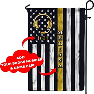 VTH Global Personalized Dispatcher 911 Police EMS Fire Emergency Dispatcher Thin Gold Yellow Line Patriot Pride American Garden Flag Customized Custom Name for Dad Mom Men Women (12x18)