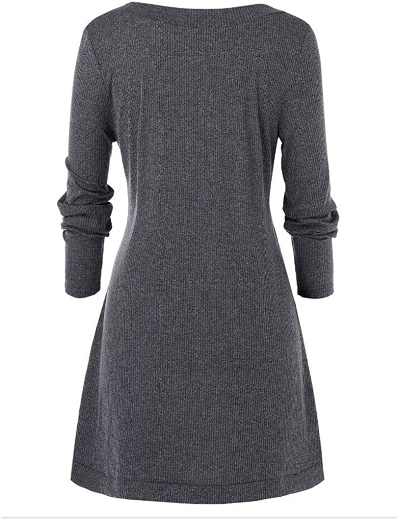 Fastbot women's Color Block Sweater Asymmetrical Button O Neck Long Sweatshirt Knit Casual Pullover Tunic Tops Plus Size