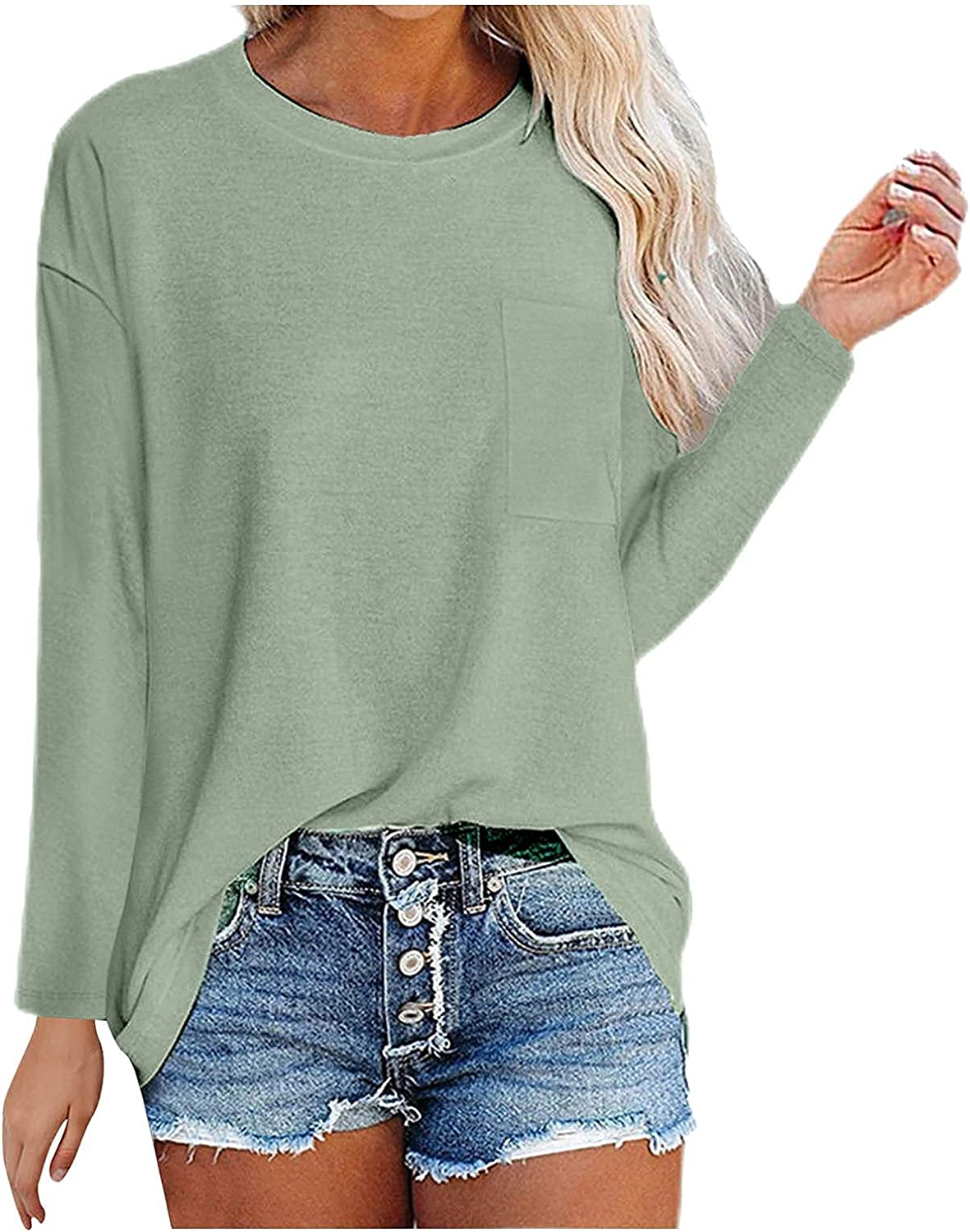 Long Sleeve Tshirts for Women Pure Color Casual Loose Top Crew Neck Pockets Front Pullover Blouse Tunic