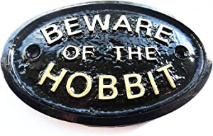 HomeWorks Beware of The Hobbit (Middle Earth) Garden Wall Or Fence Plaque/Sign (Black & Gold)