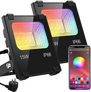 RGB LED-strålkastare strålkastare utomhus bluetooth objektbelysning 2-pack 15 W LED strålkastare strålkastare, IP66 vatten...