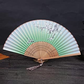 1pc Decorative Fans Vintage Chinese Spun Silk Flower Printed Hand Fan Folding Hollow Carved Decoration Crafts (Color : E)