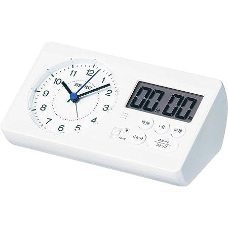 セイコークロック 置き時計 01:白パール 本体サイズ: 6.0×16.0×8.9cm 目覚まし時計 百ます計算 陰山英男モデル スタディタイム BC408W