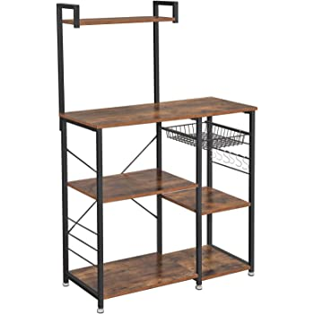 VASAGLE Baker's Rack with Shelves, Kitchen Shelf with Wire Basket, 6 S-Hooks, Microwave Oven Stand, Utility Storage for Spices, Pots, and Pans, Rustic Brown and Black UKKS35X