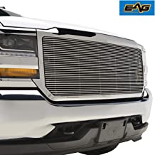 EAG Chrome Front Upper Billet Grille with Shell Compatible with 16-18 Chevy Silverado 1500