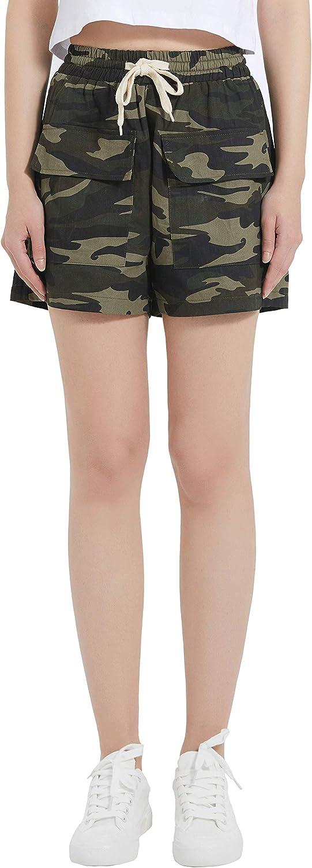 XinYangNi Women's Cargo Shorts Elastic Waist Drawstring Cotton Casual Lightweight Outdoor Multi Pocket Twill Pants