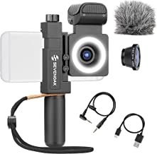 Sevenoak SmartCine by Movo - Complete Universal Smartphone Video Kit with Phone Rig, Built-in Stereo Microphone and LED Light, Wide-Angle and Fisheye Lenses - Compatible with iPhone and Android Phones
