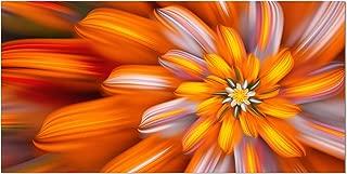 DesignArt Massive Orange Fractal Flower - Floral Canvas Art Print