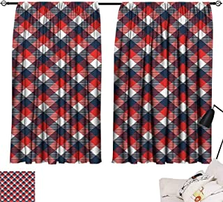 SEMZUXCVO Thermal Insulating Blackout Curtain Abstract Houndstooth Pattern in Colorful Bars Royal British Clan Style Design Suitable for Bedroom Living Room Study, etc. W63 x L45 Dark Blue Red White