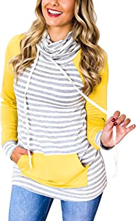 Women's Sweatshirt Striped Printed Cowl Neck Patchwork Pullover Drawstring Long Sleeve Casual Sweatshirts Tops