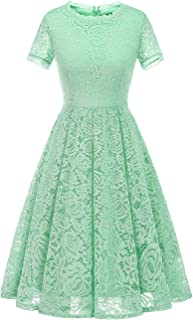 DRESSTELLS Women's Bridesmaid Vintage Tea Dress Floral Lace Cocktail Formal Swing Dress