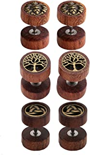 Jovivi 2-4pc Organic Sono Wood Lion Head/Tree of Life Cheater Fake Ear Plugs Gauges 10mm Illusion Screw Stud Earrings