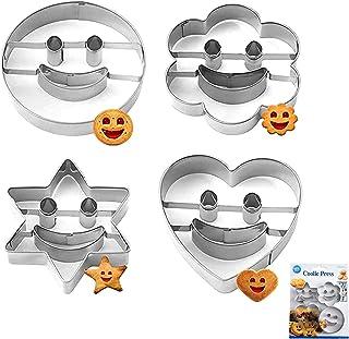4Pcs Emporte Pièces Acier Inoxydable Cookie Cutter, Emporte Pieces Smiley, Moule à Biscuits en Métal Emporte pour Décorati...