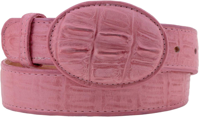 Kids Pink Western Cowboy Belt Crocodile Print Leather Rodeo Buckle