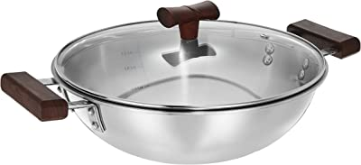 Amazon Brand - Solimo Stainless Steel Triply Kadhai with Lid, 24cm