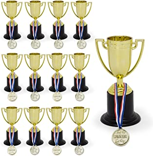 KIDSTHRILL Bulk Pack of Trophy and Awards for Kids | 12 Piece Set Plastic Golden Cup Trophies l Great for Party Favors, Prizes, Sport Events