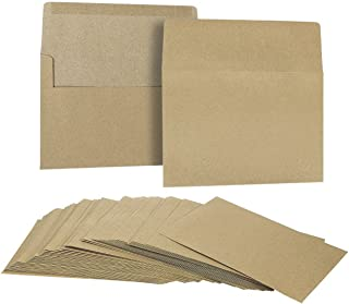 50 Pack Brown Kraft Grocery Bag Paper A7 Envelopes for 5 x 7 Greeting Cards and Invitation Announcements - Value Pack Squa...
