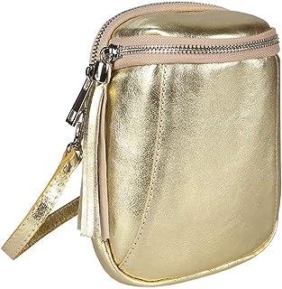 Made in Italy Damen Leder Tasche Umhängetasche Schultertasche Handytasche Geldtasche Ledertasche Crossbody Abendtasche Min...