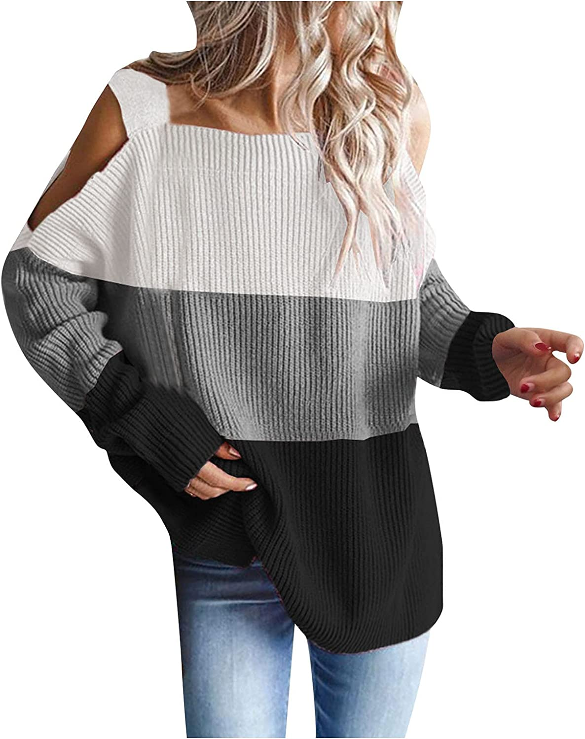 RUIY Fall Cold Shoulde Sweateres for Women, Oversized Sweaters Batwing Long Sleeve Chunky Knitted Winter Tunic Tops