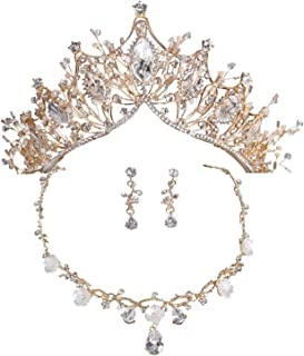 Bride Headpiece Gold Crown Necklace Earrings Jewelry Set for Brides Handmade Crystal Wedding Jewelry Women Hair Accessories