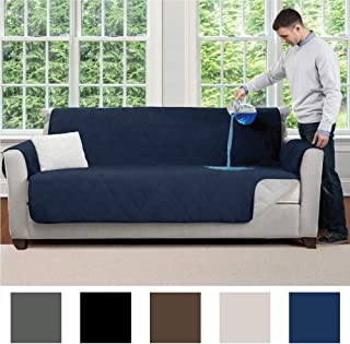 MIGHTY MONKEY Premium Slip and Water Resistant Sofa Slipcover, Seat Width Up to 70 Inch, Oeko Tex Certified, Suede-Like, Absorbs 5 Cups of Water, Cover for Couches, Kids, Dog, Sofa, Denim Blue