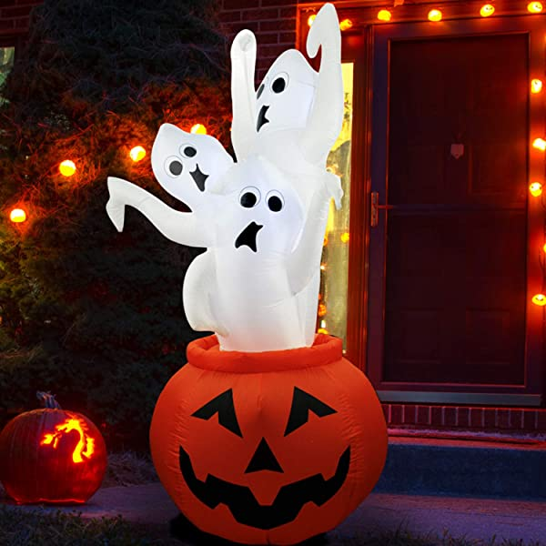 SEASONBLOW 7 Ft Halloween Inflatable Pumpkin With 3 Three Ghosts Airblown Decor For Lawn Yard Garden Home Party Indoor Outdoor